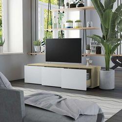 vidaXL Szafka pod TV, biel i dąb sonoma, 120x34x30 cm, płyta wiórowa (8719883915753)