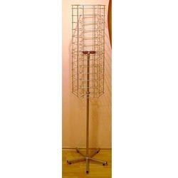 Metalowy, obrotowy, sześcienny stojak na okulary 78par - wysoki,w kolorze srebrnym, 00449