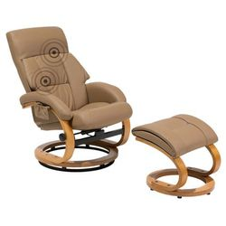 Fotel beżowy ekoskóra funkcja masażu z podnóżkiem FORCE (4260586356250)