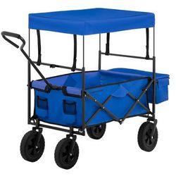 Wózek ogrodowy składany - 100 kg - niebieski marki Uniprodo