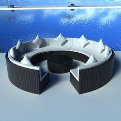 Okrągła rattanowa sofa - czarna, produkt marki vidaXL