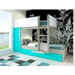 Łóżko piętrowe ANTONIO z wysuwaną szufladą – 3 × 90 × 190 cm – szafa – kolor drewna sosnowego, turkusowy i biały