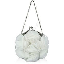 Torebka z szyfonowymi płatkami , biała | torebki ślubne wyprodukowany przez Lejdi