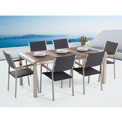 Beliani Meble ogrodowe - tarasowe - stół drewniany 180 cm z sześcioma rattanowymi krzesłami - grosseto (7081459963262)