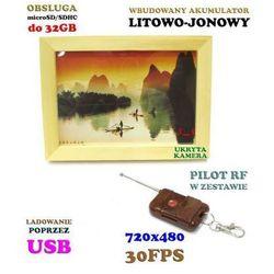 Szpiegowski obrazek (z ukrytą mini-kamerą i mikrofonem), nagrywający cyfrowo obraz i dźwięk + pilot.,