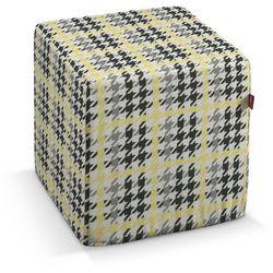 Dekoria pokrowiec na pufę kostke, żółto-czarna pepitka, kostka 40x40x40 cm, brooklyn