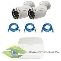 """Zestaw do Monitoringu """"Dahua 1.3MP PoE"""". 2 x Kamera IPC-HFW1120S-0360B, Rejestrator PoE DAHUA NVR2104-"""