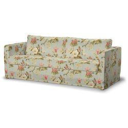 pokrowiec na sofę karlstad 3-osobową nierozkładaną, długi, duże kwiaty na jasno-błękitnym tle, sofa karlstad 3-osobowa, londres marki Dekoria