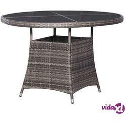 Vidaxl stół ogrodowy, szary, 110 x 74 cm, rattan pe