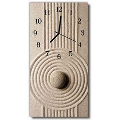 Zegar Szklany Pionowy Natura Kamienie piasek beżowy, kolor beżowy
