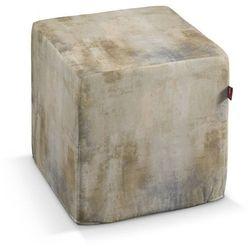 pokrowiec na pufę kostke, beżowo-szary, kostka 40x40x40 cm, urban jungle marki Dekoria