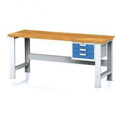Stół warsztatowy mechanic, 2000x700x700-1055 mm, nogi regulowane, 1x szufladowy kontener, 3 szuflady, niebieske marki B2b partner