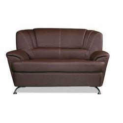 Sofa 2-osobowa z materiału skóropodobnego focus - czekoladowy marki Vente-unique