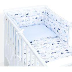 MAMO-TATO 3-el dwustronna pościel dla niemowląt 70x140 Autka niebieskie / koordynat błękit