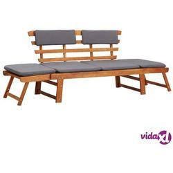 leżanka ogrodowa 2-w-1 z poduszką, 190 cm, lite drewno akacjowe marki Vidaxl