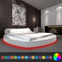 Vidaxl okrągłe łóżko z materacem i led, 180 x 200 cm, białe