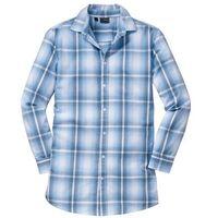 Długa koszula z długim rękawem slim fit  jasnoniebieski w kratę marki Bonprix