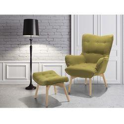 Fotel oliwkowy + pufa - fotel tapicerowany - krzesło - vejle marki Beliani