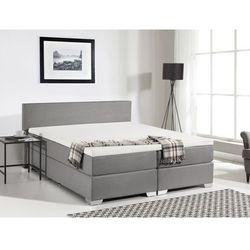 Łóżko kontynentalne 160x200 cm - tapicerowane - PRESIDENT szare, Beliani