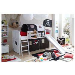 Ticaa łóżko ze zjeżdżalnią ekki sosna white country pirat kolor czarny/biały, marki Ticaa kindermöbel