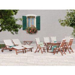 Stół rozkładany + 6 krzeseł + 2 leżanki + stolik + beżowe poduchy - toscana, marki Beliani
