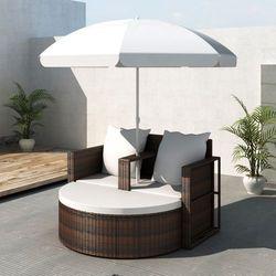 vidaXL Rattanowa sofa z parasolem (Brązowa), kup u jednego z partnerów
