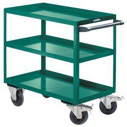Eurokraft active green Montażowy wózek pomocniczy, 3 piętra, nośność 350 kg, wys. całkowita 915 mm, tur