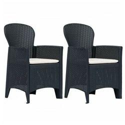 Fotele na taras z poduszkami campos 2 szt - antracytowe marki Elior