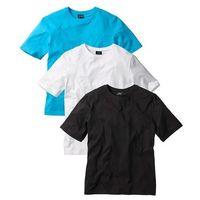 T-shirt (3 szt.) Regular Fit bonprix biały + turkusowy + czarny