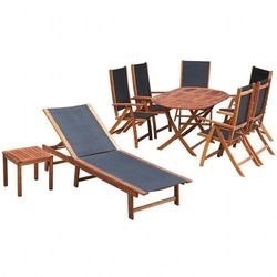 Zestaw mebli ogrodowych, 9 części, drewno akacjowe i textilene