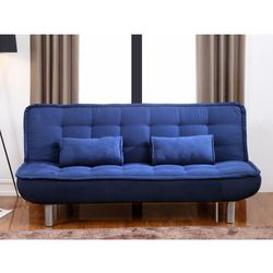Kanapa rozkładana MISHAN z tkaniny - Kolor: niebieski, kolor niebieski