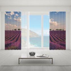 Zasłona okienna na wymiar komplet - LAVENDER FIELDS