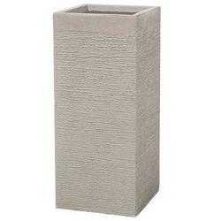 Beliani Doniczka beżowa kwadratowa 26 x 26 x 60 cm dion