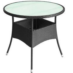 Vidaxl stolik z polirattanu do ogrodu, 90x74 cm, czarny