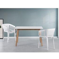 Beliani Stół do jadalni biały 120/155 x 80 cm 1 przedłużka medio (7081451553546)