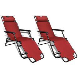 Vidaxl  leżak plażowo-ogrodowy, czerwony, dwie sztuki