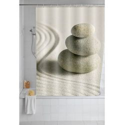 Zasłona prysznicowa Sand and Stone, tekstylna, 180x200 cm, WENKO, B00LOVXW8Q