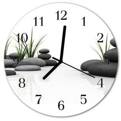 Zegar szklany okrągły Spa z kamieniami