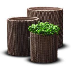 Zestaw doniczek cylindrycznych w 3 rozmiarach - Brązowy - produkt z kategorii- doniczki i podstawki