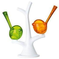 Solniczka i pieprzniczka na drzewku zielono pomarańczowym. - produkt z kategorii- Pojemniki na przyprawy