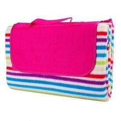 Składany koc piknikowy inSPORTline 130x180 cm wodoodporny - Kolor z różowym paskiem (8596084032812)