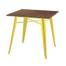 Stół TOWER WOOD żółty - blat sosna antyczna/metal