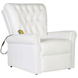 Vidaxl  elektryczny fotel masujący z białej eko-skóry (8718475917014)