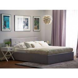 Łóżko jasnoszare - 160x200 cm - ze skrzynią na pościel - lorient marki Beliani