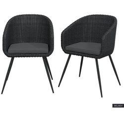 Selsey zestaw dwóch krzeseł ogrodowych kencur ciemny technorattan z ciemnoszarym siedziskiem