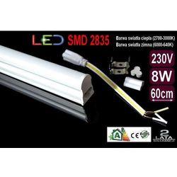 ŚWIETLÓWKA LED MILK w oprawie T5 8W 60cm zimna (świetlówka)