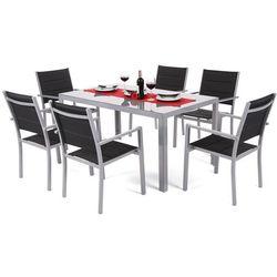Meble ogrodowe aluminiowe corfu silver / black 6+1 marki Home&garden