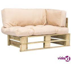 vidaXL Sofa ogrodowa z palet z piaskowymi poduszkami, drewno FSC (8718475715597)