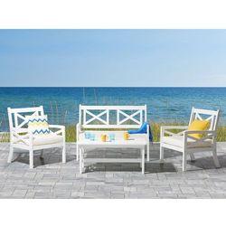 Beliani Meble ogrodowe białe - ogród - stół z 2 krzesłami i ławką - baltic