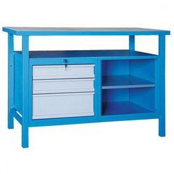 Stół warsztatowy, 600x1200mm, 3 szuflady, 1 półka, drewniany blat